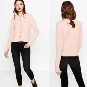 Zara Knit Diamante Sweater Cardigan Pale Pink